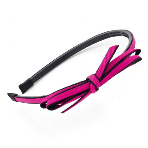 Fuchsia Pink and Black Bow Motif Alice Hair Band